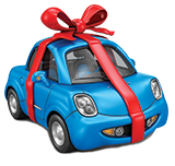 Blue Bug-like car tied with red ribbon